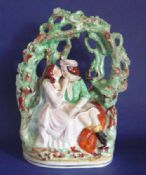 Unusual Victorian Staffordshire Pottery Arbor 'Romeo and Juliet' c1860 (Sold)